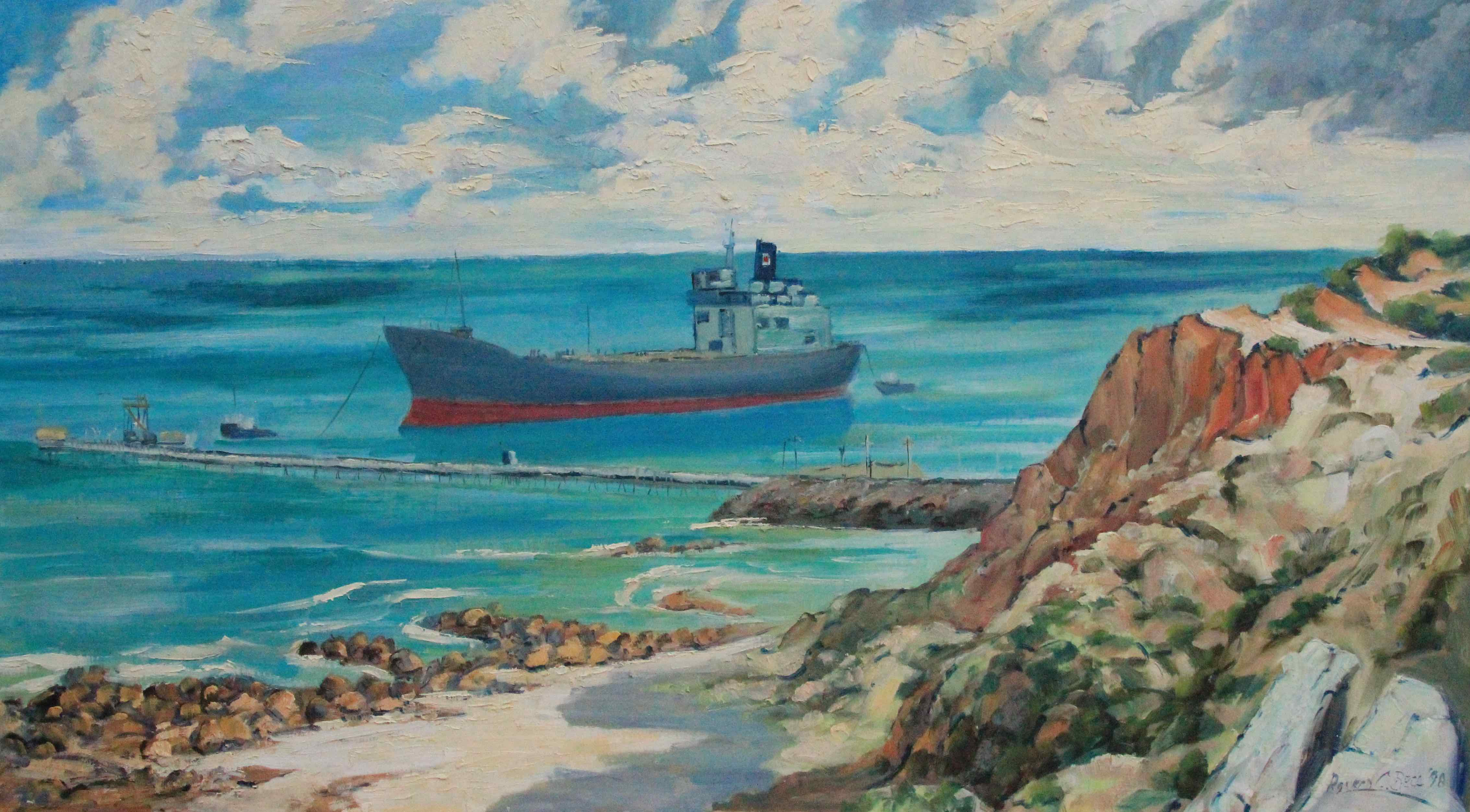 Boat at sea by Ronald C Bell