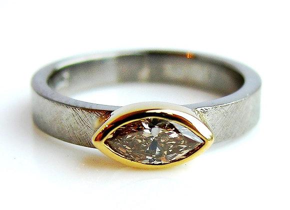 Palladium, 18ct gold and Champagne Diamond