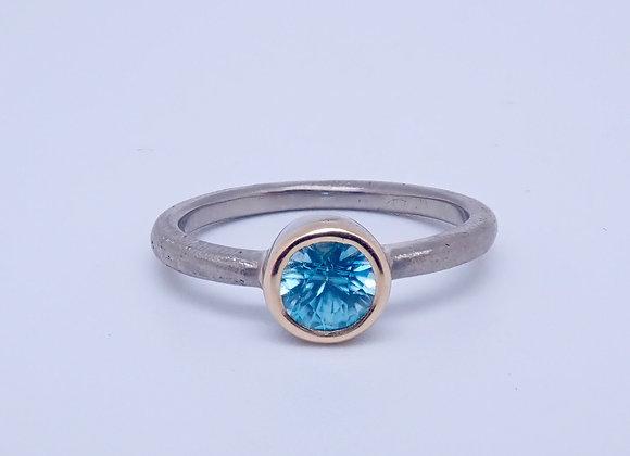 Palladium, 18ct Gold and Blue Zircon Ring
