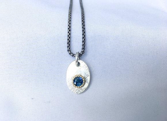 Blue Sapphire Tag Pendant
