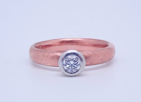 Rose Gold and Platinum Diamond Ring