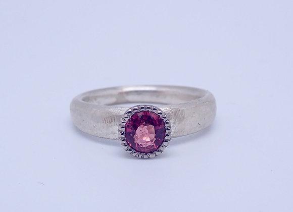 Stg, Palladium and Pink Tourmaline Ring