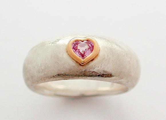 Pink Sapphire heart cut ring