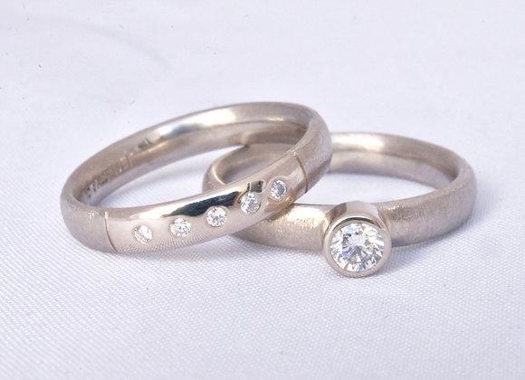 Ben Flynn handmade wedding engagement ring palladium white gold and Diamond