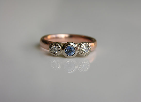 Rose Gold, White Gold, Sapphire and Diamond Ring