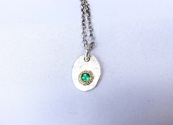 Stg Silver and Emerald Tag Pendant