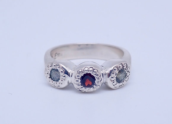 Vintage Maisy Garnet and Sapphire ring
