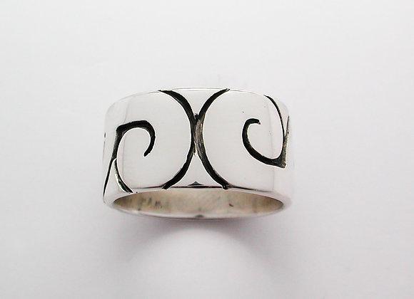 Wide Flat Koru ring