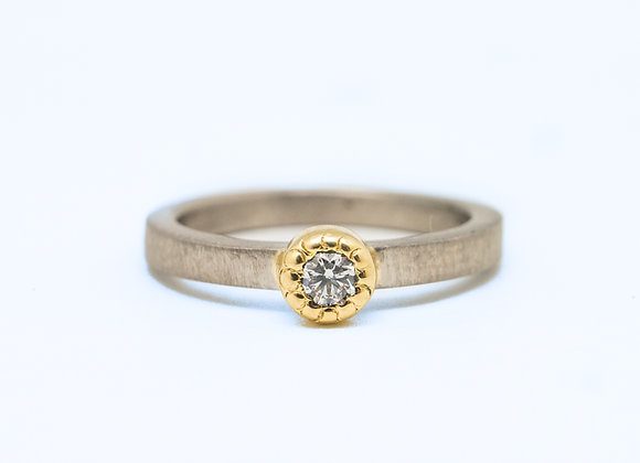 Palladium and 18ct Gold Diamond Ring