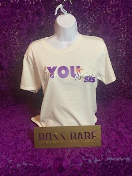 BeYouTiful Sis T-Shirt (White and Purple)