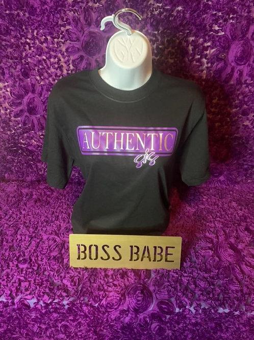 Authentic Sis T-Shirt (Black& Purple)