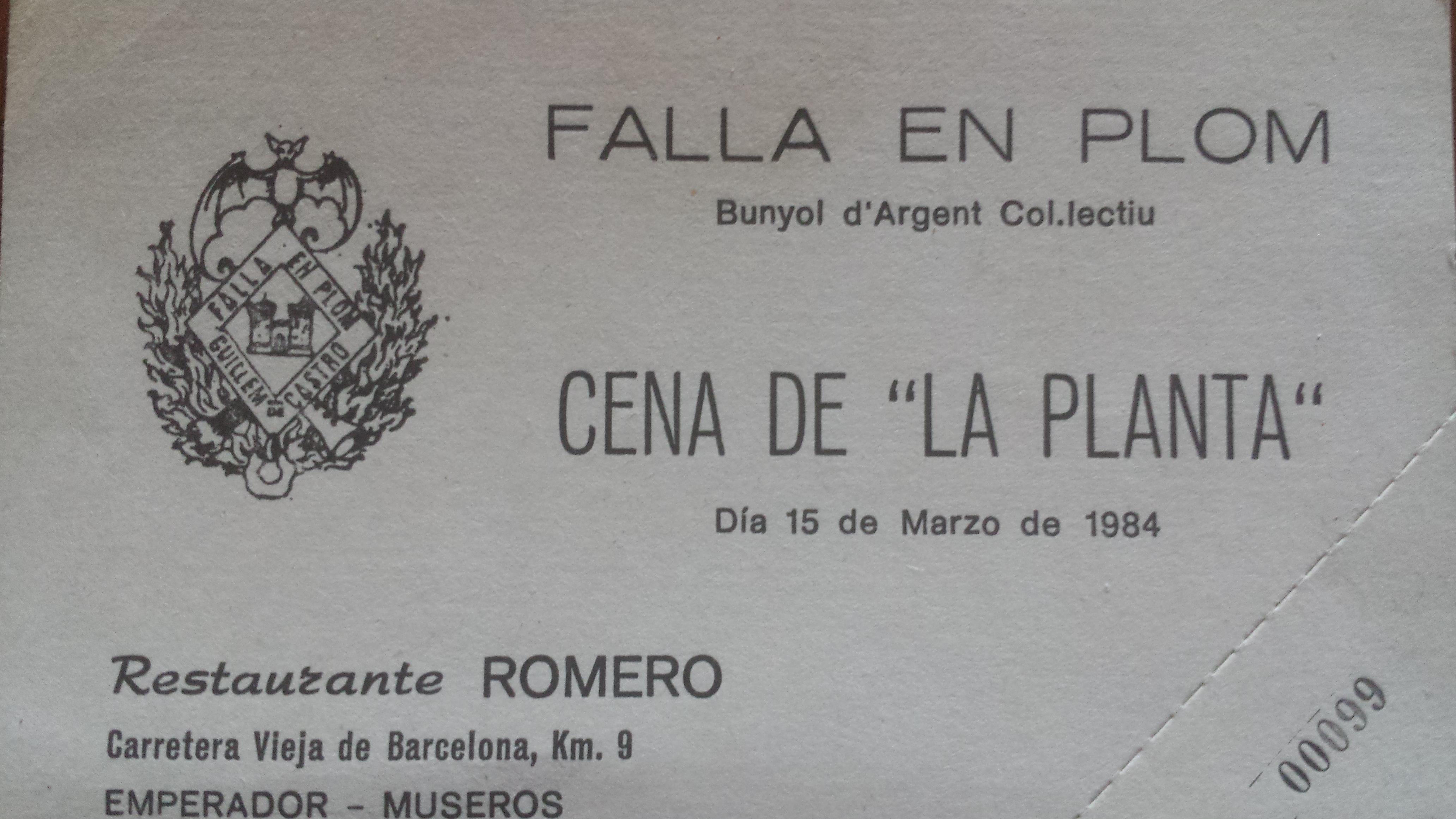 Ticket de la plantà 1984