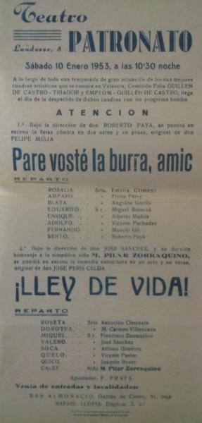 Lley de vida y otro cartel 1953