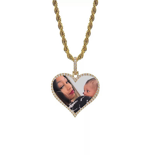 Amor custom photo necklace