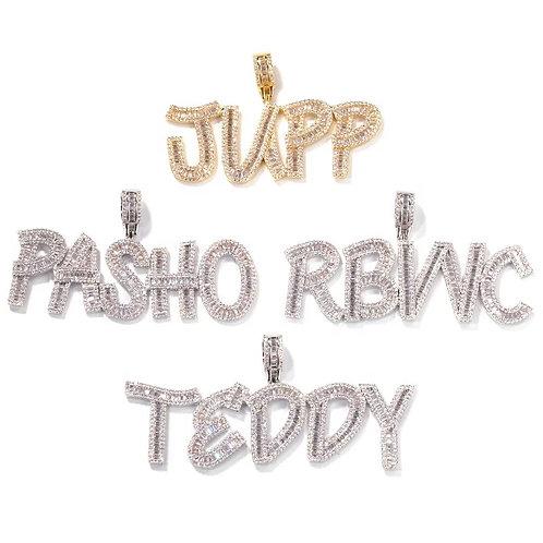 Reno Custom baguette name pendant