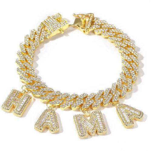 Custom letter charm cuban bracelet