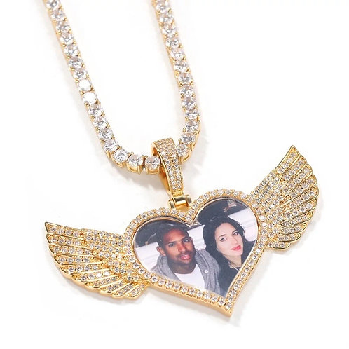 Winged love picture pendant