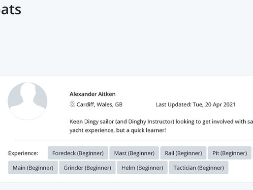 Welcome Alexander Aitken - 1st crew looking for a yacht to race on