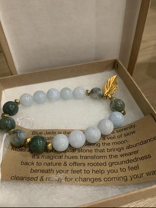Blue jade &Moss agate