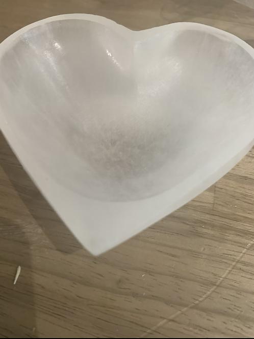 Selenite heart bowl