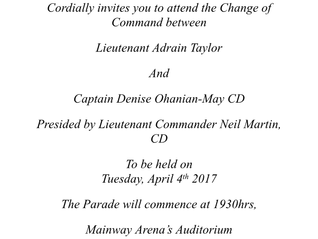 Change of Command - Tues Apr 4th
