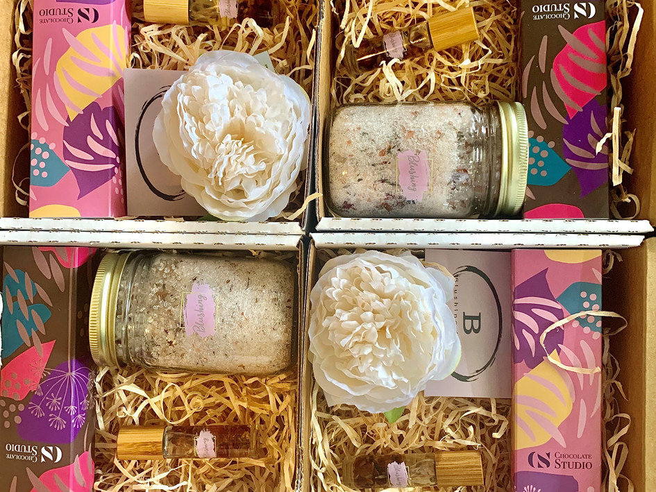 Wedding pamper boxes created for a Wedding store event