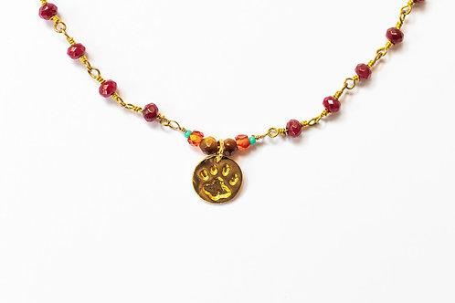 Semi-Precious Stone Chain w/ Paw (One of a kind)