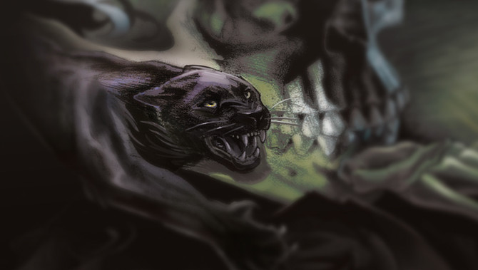 Drawing a nightmarish Panther and death scene