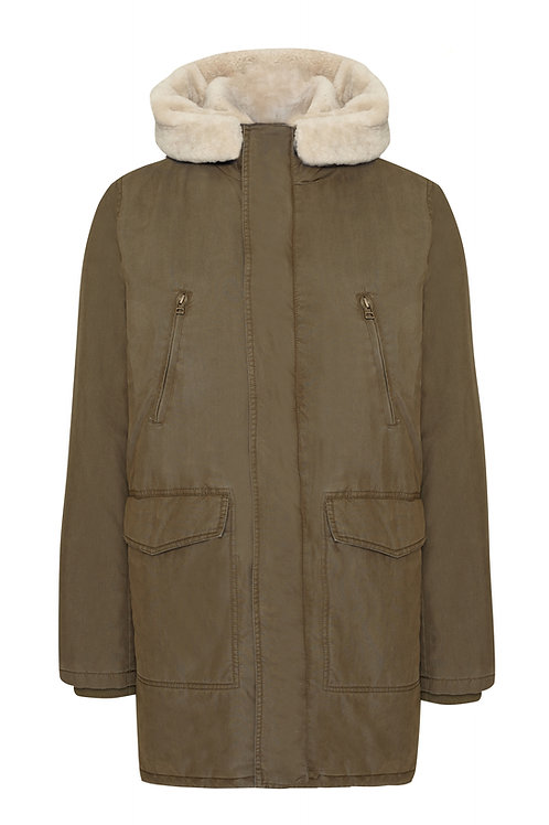Basic Parka Lammfell Men Oliv