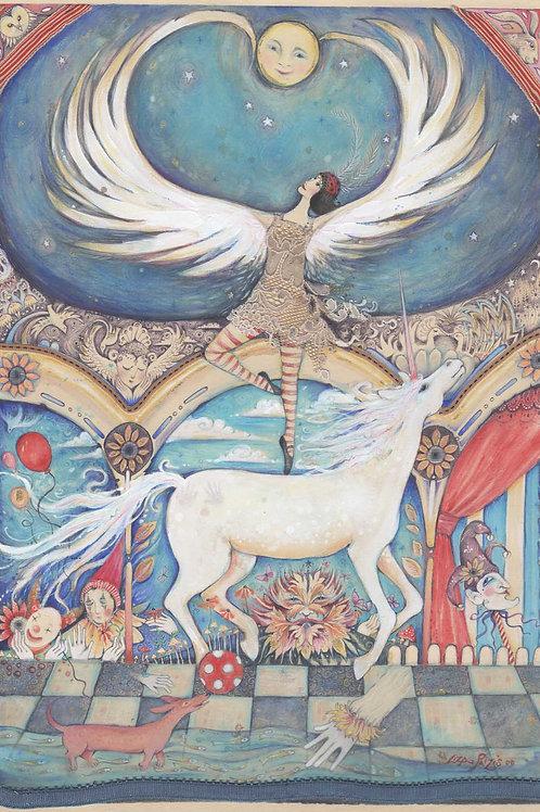 """I Dreamed A Circus"" original Circus fantasy vintage poster painting"