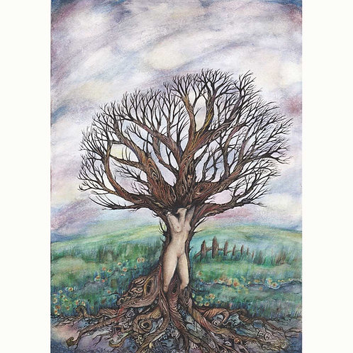 Dryad tree spirit original painting tree goddess art by Liza Paizis