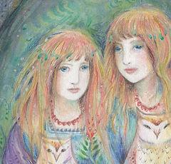 whimsical owl girl painting owl sister art