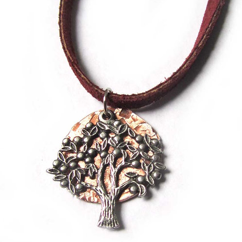 Tree of Life pendant necklace with hammered copper on leather cord