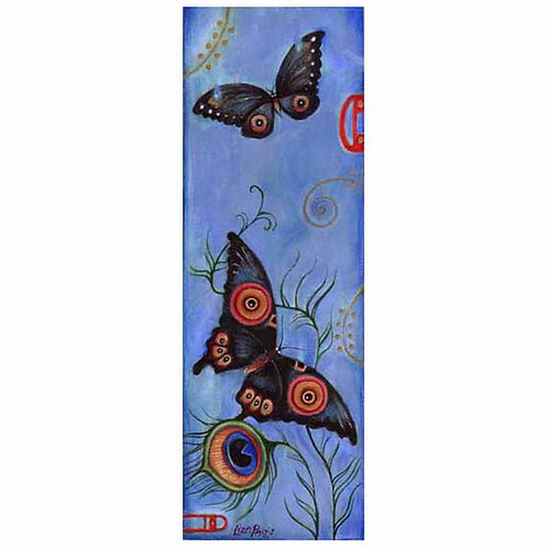 Japanese Butterflies painting with peacock feathers