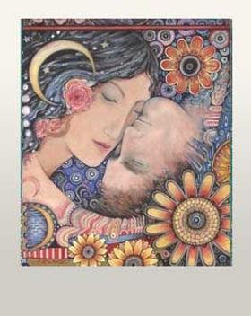 sun moon lovers romantic love art painting