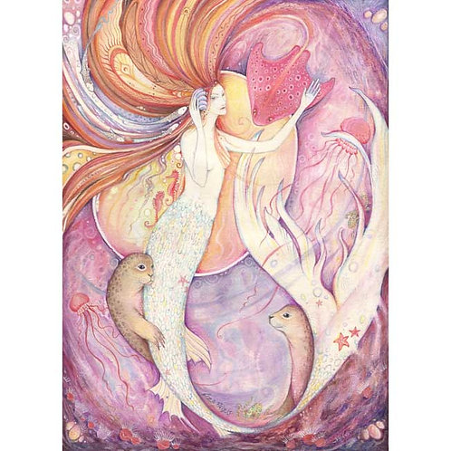 Mermaid Original Painting in Watercolors and Gouache - Aqualina -