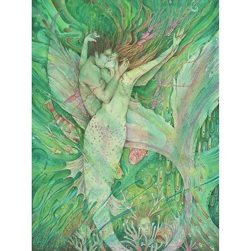 The Mermaid and the Sailor original watercolor painting of a mermaid and her lov
