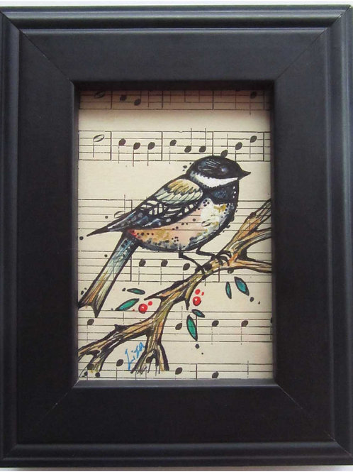 ChickaDee original framed little bird painting bird lover gift