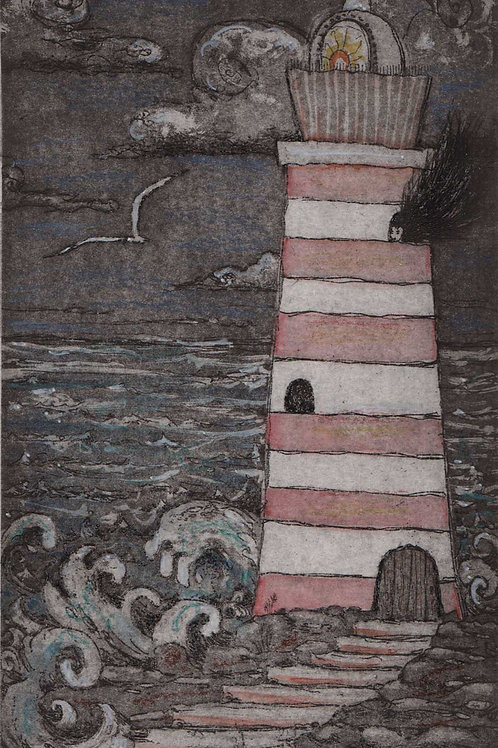 Lighthouse Keeper illustration whimsical lighthouse etching hand colored with po
