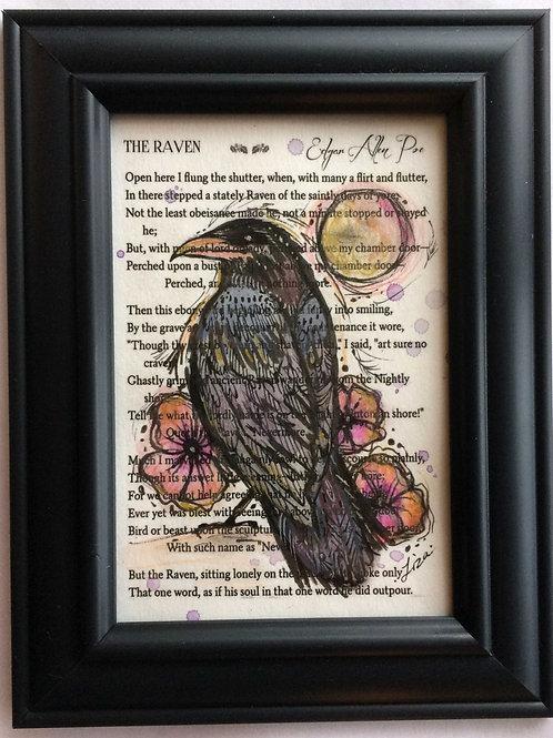 Raven painting Edgar Allen Poe framed raven bird art