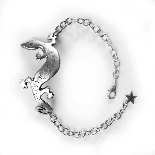 Lizard gecko bracelet pewter lizard artisan jewelry