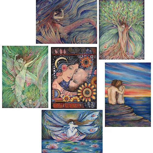 Lovers Note Card set of 6 cards of love and romance
