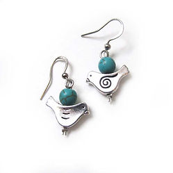 blue bird turquoise earrings blue bird charm