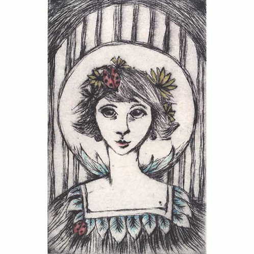 LadyBird Limited Edition Drypoint Etching handcoloured