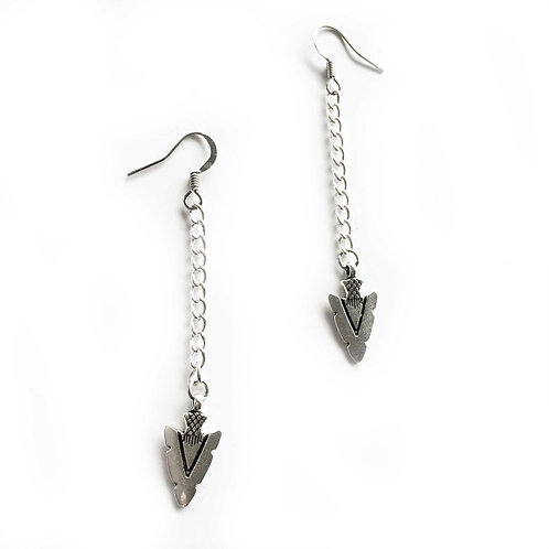 Arrow Head earrings silver tone arrowhead earrings on chain
