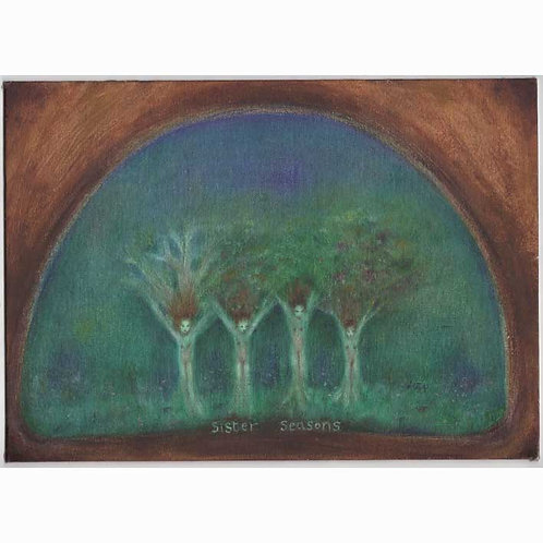 Sister Seasons original oil painting of sisiters trees and four seasons