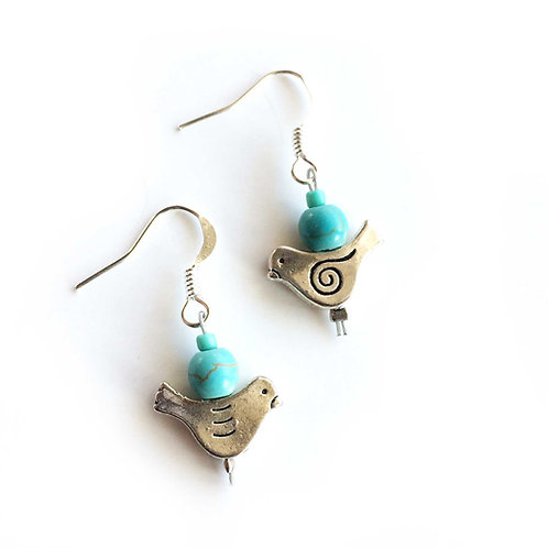 Blue bird dove earrings with turquoise stone