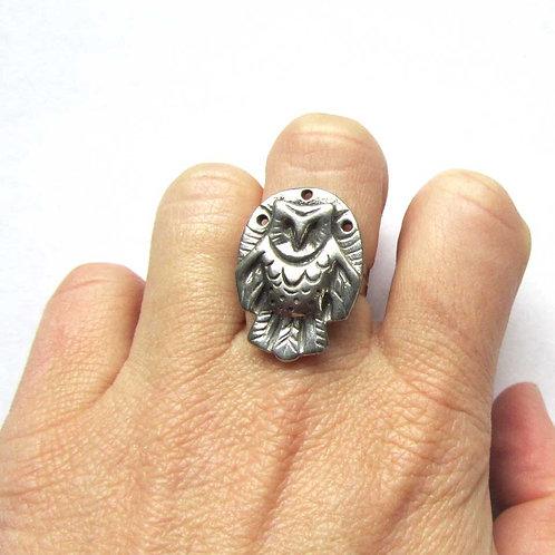 Owl ring barn owl totem animal ring