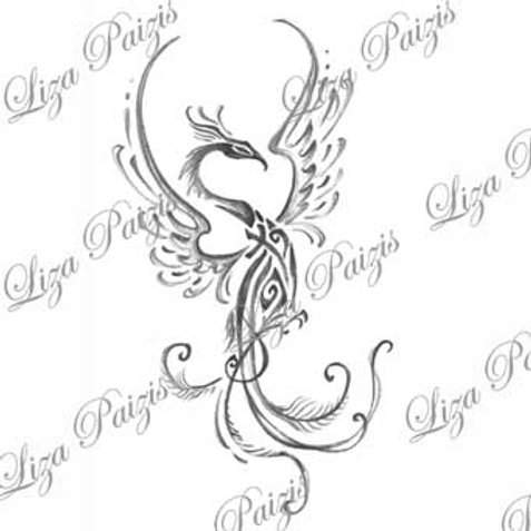 Tribal phoenix dragon black and gray tattoo design