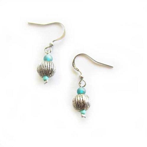 Blue bead silver tone earrings with Czech glass